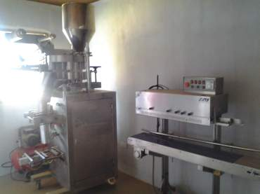 Inside of the facility, packaging equipment
